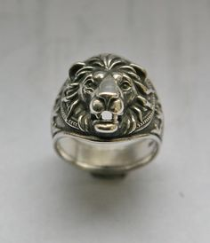 Lion head ring All my rings are made from solid sterling silver 925. Each casting ring is hand finished before having a patina added. Once the