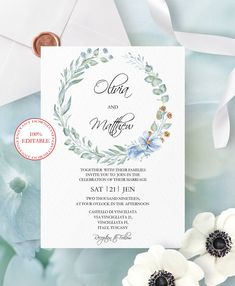 Editable Wedding Invitation, Winter Bridal Invitation, Printable Invitation, Lovely Floral Wedding Invites, Instant Download.   #papergoods #wedding #cards #weddinginvitation #diy #elegant #design #blue #templates #printable