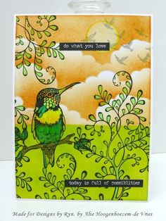 Spiral Leaves and Hummingbird stamped card.