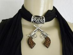 New Womens Pendant Scarf Necklace Jewelry Choker Black Scarf Two Pistols