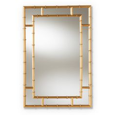 Baxton Studio Adra L x W Gold Framed Wall Mirror at Lowe's. Transform your space with the stunning bamboo-inspired Adra wall mirror. The Adra features a rectangular mirror flanked by mirrored panels and framed by Bamboo Mirror, Bamboo Wall, Gold Frame Wall, Frames On Wall, Framed Wall, Wall Art, Fashion Kids, Frame Display, Gold Walls