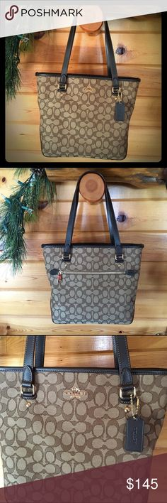 """Coach Outline Signature Zip Top Tote F58282 Coach Outline Signature Zip Top Tote F58282 Khaki/Brown * Signature canvas with leather trim * Top zip closure; fabric lining * Double straps with 9"""" drop * Inside zip pocket and multifunction pockets  * 12"""" (L) x 10"""" (H) x 4-1/2"""" (W) * Khaki/Brown * EUC only used for a month if that. Coach Bags Totes"""