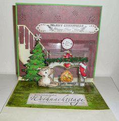 Nadja using the Multi-Tier Pop 'n Cuts insert, cut from a clear material - Nadjas Stempelkreationen: Pop´n- cuts- Santa at the door/ Der Weihnachtsmann steht vor der Tür