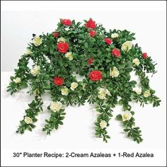 """Fill a 30"""" planter with three faux azalea plants. Mix colors for a variegated effect!"""