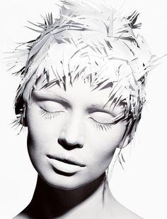 Paper Hair, Paris, Michael Thompson white on white photography Editorial Photography, White Photography, Portrait Photography, Fashion Photography, Portrait Editorial, Editorial Hair, Shades Of White, Black And White, Pure White