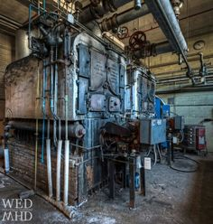 """Boiler room that connects to a """"dry sewer"""" type hall-maze thats underground Marblehead Massachusetts, Ash Thorp, Haunted Attractions, Abandoned Factory, Archive Library, Prop Design, Boiler, Paper Models, Halloween Cosplay"""