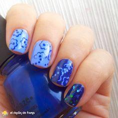 Reto puntos Mivi Nail Art   Reto colores 2 _ Flores   Azul