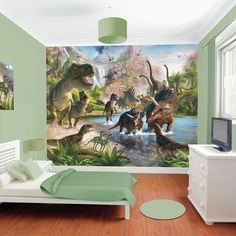 Take a walk on the wild side with this Dinosaur Land Mural from Walltastic. The scene is exciting with a hint of danger, with bright and vivid colours that will stand out in any bedroom or playroom. There are several species of dinosaur within the image, so set your child the challenge of finding out what they are! Easy to hang, this mural comes in 12 separate panels which can be flexible in terms of the space that you have available. Bring your bedroom wall to life! Overall Dimensions…