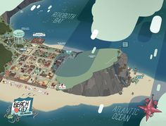 """stevensugar: """" Beach City, Delmarva A little over a year ago I had the chance to make a canonical map of Beach City, featuring lots of locations seen in the show and a few we've never been to! There's..."""