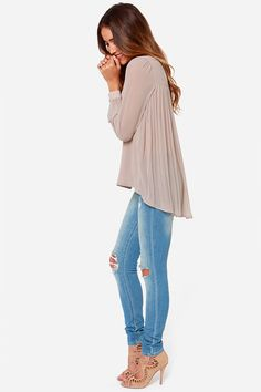 silk pleated top with distressed skinny jeans
