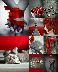 Collage by Renée Collages, Pot Pourri, I See Red, Mood Colors, Color Collage, Beautiful Collage, My Funny Valentine, Red And Grey, Shades Of Red