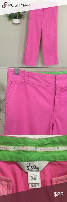 """🆕 Lilly Pulitzer wide leg pants These pink pants were one of my favorites but no longer fit. Well-loved for sure! Size 8. Waist about 16 1/3"""" and inseam about 30"""". Width of leg at bottom is about 9 1/2"""". Please see ALL photos for flaws and fading. Sorry to see these go. Lilly Pulitzer Pants Wide Leg"""