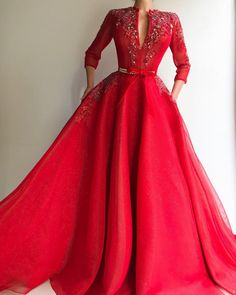 Details - Red color dress - Shiny mesh net fabric - Handmade embroidered flowers and crystals - Beautiful TMD belt design with handmade crystals and red velvet ribbon - Ball-gown style - Party dress Evening dress Weeding dress