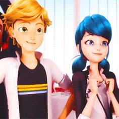 1) marinette is no longer nervous around adrien 2) simultaneous smiles 3) canon: that's some spine-touching 4) he looks like a proud cinnamon roll boyfriend 5) also, looks like that boy watching his girl from afar as she lights up with happiness