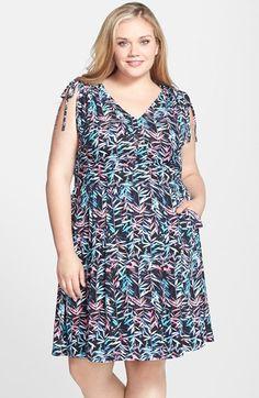 Sejour Tie Shoulder Fit & Flare Dress (Plus Size) available at #Nordstrom