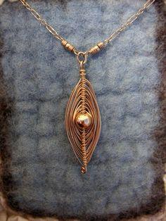 Wire Wrapped Gold Birdnest Necklace  Wire by BellantiJewelry, $75.00