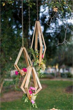 Rustic Geometric Hanging Wedding Decor with Colorful Flowers / http://www.deerpearlflowers.com/hanging-wedding-decor-ideas/2/