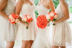 Nashville Garden Wedding | CJ's Off the Square | Summer Lace Dresses | Peach Rose Bouquets - Photo: Zach + Jody Gray