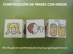 LOVE this idea! Create die with pictures of the the subject, another with a verb, and the other with the object. Speech Language Therapy, Speech Therapy Activities, Language Activities, Educational Activities, Speech And Language, Spanish Teaching Resources, Spanish Lessons, Teaching English, Teaching Reading