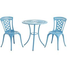 Pier 1 Imports Neely Bistro Set ($300) ❤ liked on Polyvore featuring home, outdoors, patio furniture, outdoor patio sets, blue, garden furniture, outdoor patio furniture, outdoors patio furniture and blue patio furniture