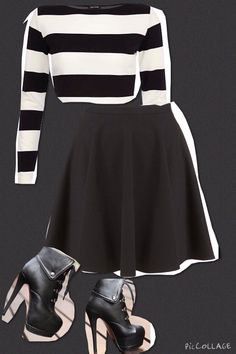 Get classy with high heel boots a skater skirt and a matching crop top!