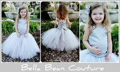 Gray Flower Girl Tutu DressSkirt and Top by BellaBeanCouture, $130.00