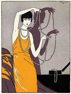 Love this dramatic Art Deco flapper jewellery print http://www.vintagevenus.com.au/products/vintage_poster_print-fas734