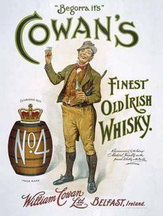 Cowan's Irish Whisky Drink Barrel Bar Pub Cafe Old Vintage Medium Metal Tin Sign Vintage Labels, Vintage Ads, Vintage Posters, Vintage Style, Retro Posters, Retro Ads, Vintage Signs, Irish Whiskey, Irish Bar