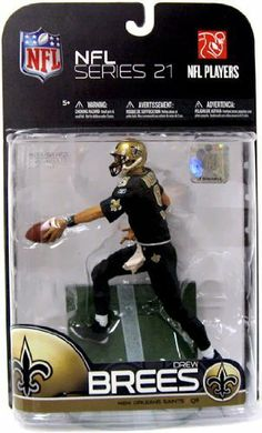 """McFarlane Toys NFL Sports Picks Series 21 Drew Brees by McFarlane Toys. $34.99. Feature 6 points of articulation. Comes with ball and base. Photorealistic representation of star quarterback drew brees. First time drew brees has been offered in the popular all-black saints uniform. Figure stands at 5"""" tall. From the Manufacturer                McFarlane Toys NFL Sports Picks Series 21 Action Figures Bring Every Detail of Your Favorite NFL Superstars to Life. Sculpted in 6""""Scale..."""