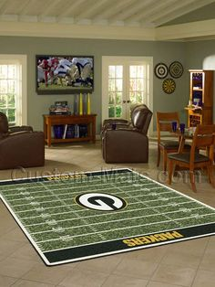 Imperial International NFL Homefield Area Rug Rug Size: Rectangle x NFL Team: Dever Broncos Sports Rug, Sports Decor, Nfl Sports, Home 21, Custom Mats, Atlanta Falcons, Carolina Panthers, Green Bay Packers, Beige Area Rugs