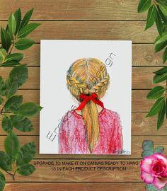 Toddler Girl Art, Girls Room Art, Little Girl Hairstyle print, Girls wall decor, Girl nursery Art, Red, Girls room decor, Baby Girl Nursery