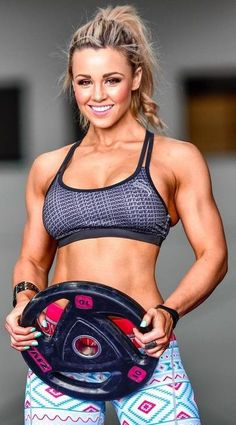@strongliftwear Being strong and fit makes you happy. It's science  Stephanie Sanzo wearing our sports crop and Aztec watermelon leggings    www.strongliftwear.com: