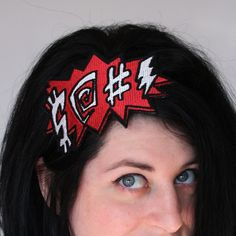 Comic potty mouth embroidered headband red and white. £15.00, via Etsy.