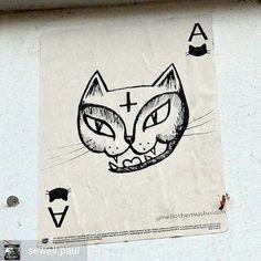 Ace of cats - Satan Kitty spotted in Leeds by @sewell.paul  #hellothemushroom #satankitty #leedsstreetart #streetartleeds #stickergame #stickertrade #stickerbombing #stickerart #urbanart #stickerslap #stickers #slaps #slapstickers #stickerbomb #stickerporn #slaptag