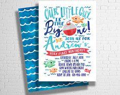 Fishing Birthday Invitation The Big One Fishing by ohbejoyfulshop