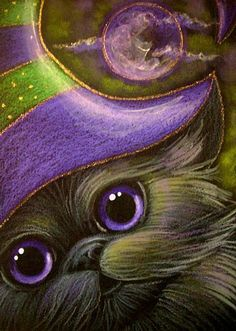 """""""Smokey Persian Cat with Witch Hat"""" par Cyra R. Halloween Images, Halloween Art, Baby Kittens, Cats And Kittens, Chalk Pastel Art, Cat Online, Cute Cats Photos, Black Cat Art, Purple Cat"""