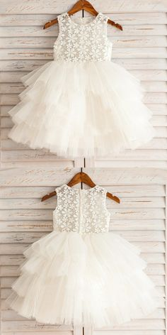Ball Gown Round Neck White Tiered Flower Girl Dress with Lace, cute ball gown little girl dresses with lace, lovely beach flower girl dresses Baby Girl Party Dresses, Little Girl Dresses, Flower Girl Dresses, Baby Dress Design, Baby Girl Dress Patterns, Frocks For Girls, Kids Frocks, Girls Dresses Online, Fashion Kids