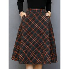 Plaid Woolen Pocket Flared Midi Skirt ($36) ❤ liked on Polyvore featuring skirts, flare skirts, flared midi skirt, wool midi skirt, plaid midi skirt and knee length flared skirts