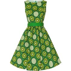 'Audrey' Electric Green Kiwi Print Swing Dress ($21) ❤ liked on Polyvore featuring dresses, sleeveless swing dress, green day dress, trapeze dress, tent dress and mixed print dress