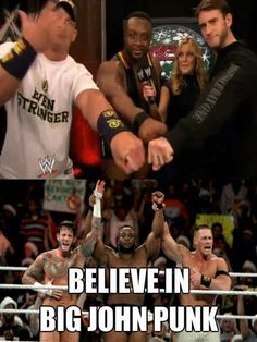 Raw #WWE john cena cm punk and big E Langston.. I think The Shield does it more better then them! Just saying..