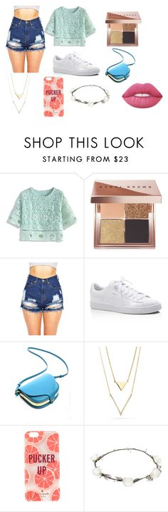 """encontro"" by lunaomgirl on Polyvore featuring moda, Chicwish, Bobbi Brown Cosmetics, Puma, Kate Spade, Lipsy e Lime Crime"