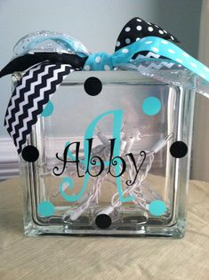 Personalized Monogram Glass Block Light