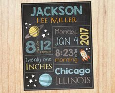 new baby outer space nursery decor. astronaut birth stats chalkboard new baby gift Nursery Frames, Nursery Signs, Nursery Art, Kids Chalkboard, Chalkboard Signs, Chalkboards, Outer Space Nursery, Space Themed Nursery, Birth Announcement Sign