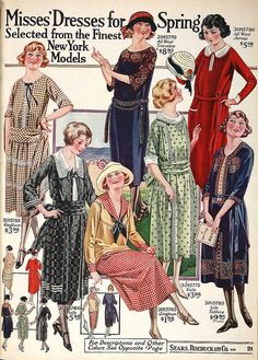 A diversely pretty selection of warm weather 1920s dress. #vintage #1920s #twenties #clothing #dress #fashion