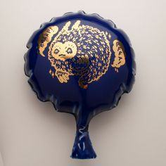 Ceramic Whoopee Cushion  Cobalt Blue with Gold by BrettKernArt