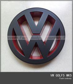 VW  GOLF5 MK5 Emblem GTI TDI Front Grill Badge Volkswagen LOGO Black/Red Matte