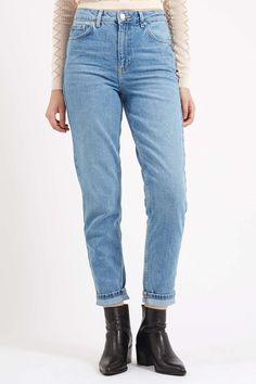 MOTO Mid-Blue Mom Jeans - Jeans - Clothing - Topshop USA