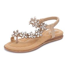 befb4254bec494 Sandals Meehine Women s Elastic Sparkle Flip Flops Summer Beach Thon.