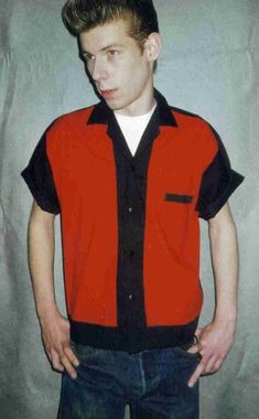 Men's Rockabilly Shirt Jac  Red and Black