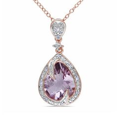 Love this Diamond & Amethyst Teardrop Swirl Pendant Necklace so unusual, and just plain stunning.